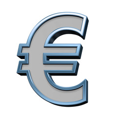Euro sign from gray with blue frame alphabet set, isolated on white. 3D illustration.