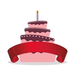 cake birthday candle and red ribbon vector illustration eps 10