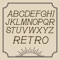 Graphic Font for your design. Strict letters in retro style.