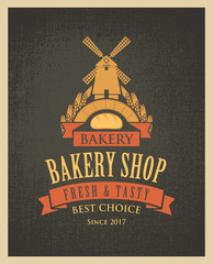 Vector banner for a bakery shop with a picture of the windmill, baguette and ears of wheat on the background of sacking