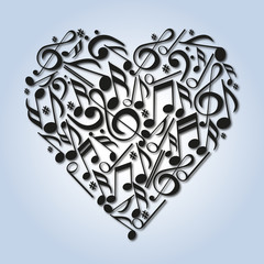 Cœur - Musique - Notes de Musique - amour - aimer - concept