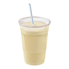 Banana smoothie/milkshake positioned straight up and down with straw inside a clear plastic container covered with beads of cold condensation.