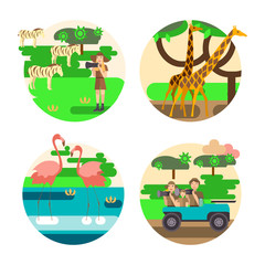 African safari concept set with people and animals. Eco tourism travel. Flat isolated eps 10 vector illustration