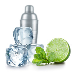 Lime, mint, ice cubes and metal cocktail shaker on white background