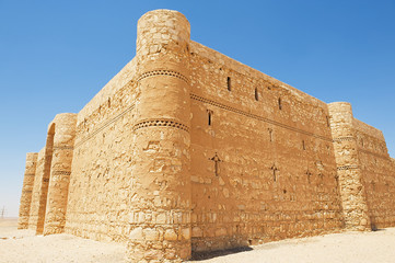 Exterior of the desert castle Qasr Kharana (Kharanah or Harrana) near Amman, Jordan. Built in 8th century, used as caravanserai.