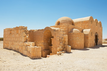 Exterior of the Amra desert castle (Qasr Amra) near Amman, Jordan. World Heritage, built in 8th century by the Umayyad caliph Walid II and famous for it's unique frescos.