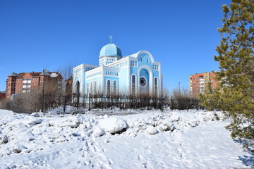 Synagogue in Astana, capital of Kazakhstan, in winter