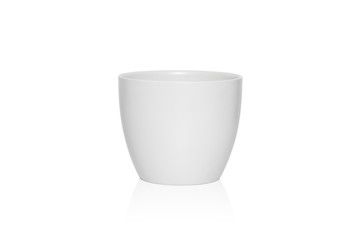 White flower pot isolated on white background.