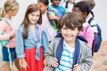 Group of kids standing on school terrace