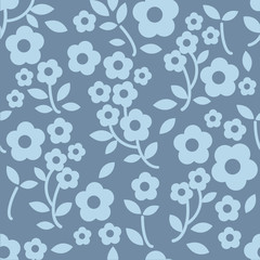 seamless blue floral pattern background