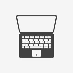 Laptop monochrome icon. Top view. Vector illustration.