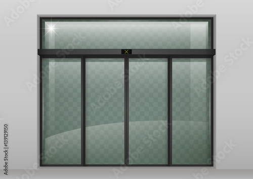 Double Sliding Glass Doors With Automatic Motion Sensor Entrance To