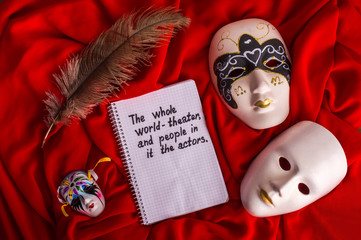 Carnival mask on a bright background. The whole world - theater, and people in it - the actors