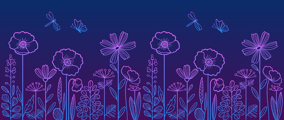 Linear pattern made of decorative flowers and plants with dragonfly and butterfly, nature of wild field and meadow. Vector illustration in violet-blue colors. Can be used as border.