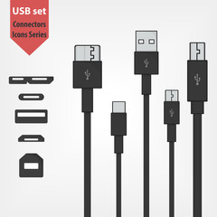 Set of usb connectors. USB 3.0 type A and B, micro and mini USB cables and sockets. Universal serial bus minimalistic icons. Hard disk, smartphone and digital devices support
