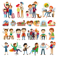 set group of people. family, teenagers, children, relationships, Transportation