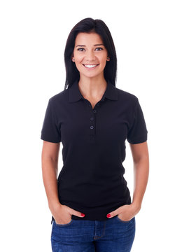 Happy woman in black polo shirt on a white background