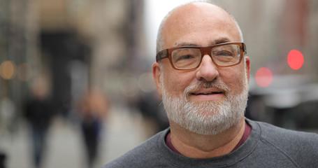 Mature caucasian man in city face portrait
