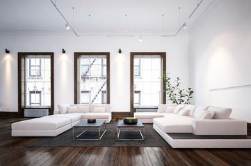 Modern minimalist designer living room interior