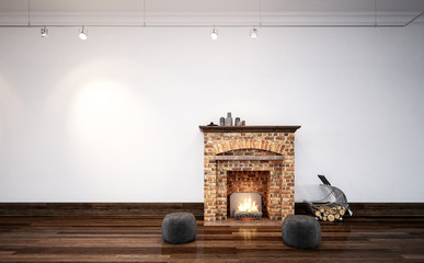 Burning log fire in a minimalist living room