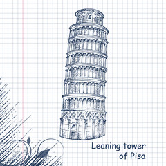 Leaning Tower hand drawn sketch