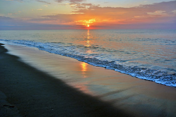 Serene Summertime Sunrise Along the Shore