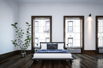 Neat spacious minimalist black and white bedroom