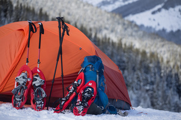 extreme campaign in the kanyena in the winter with a tent