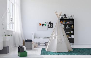 Small white wigwam or tepee in a kids nursery