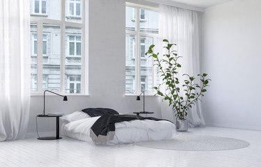 Modern Monochromatic White Bedroom Interior