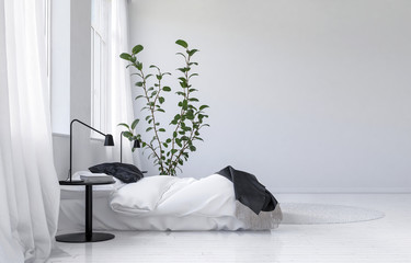 Light bright white modern bedroom interior