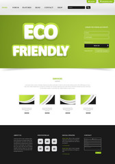 Eco Green Website Layout. Vector Illustration Eps 10.