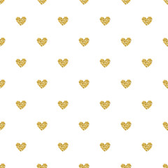 seamless pink heart glitter pattern on white background