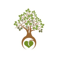 tree with green leaves and a heart in the root, the symbol of eco
