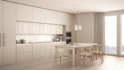 Modern minimal white kitchen with wooden floor, classic interior design