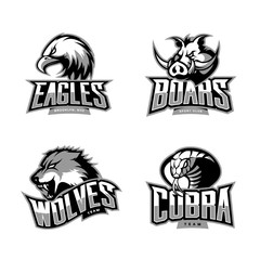 Furious cobra, wolf, eagle and boar sport vector logo concept set isolated on white background. Premium quality wild animal, bird and snake t-shirt tee print illustration.