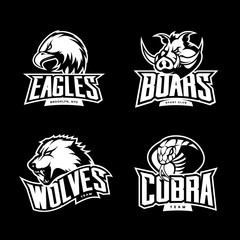 Furious cobra, wolf, eagle and boar sport vector logo concept set isolated on dark background. Premium quality wild animal, bird and snake t-shirt tee print illustration.