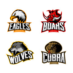 Furious cobra, wolf, eagle and boar sport vector logo concept set isolated on white  Premium quality wild animal, bird and snake t-shirt tee print illustration.