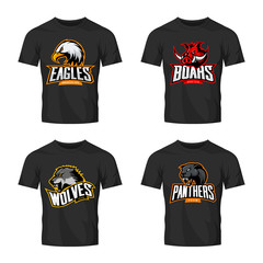 Furious panther, wolf, eagle and boar sport vector logo concept set isolated on black t-shirt mockup. Premium quality wild animal and bird head t-shirt tee print illustration.