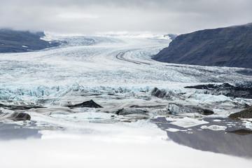Reflection in glacier lagoon, Vatnajokull, Iceland