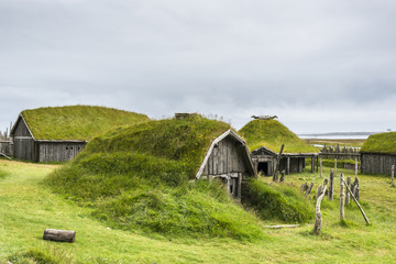 Typical Viking's village. Wooden houses near Vestrahorn mountains on the Stokksnes Peninsula, Hofn, Iceland