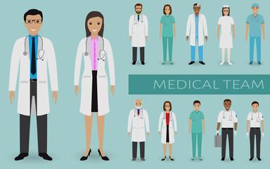 Medical team. Doctors and nurses standing together. Medicine web banner. Hospital staff.