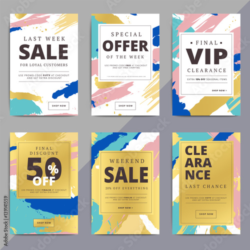 Creative Luxury Abstract Social Media Web Banners For Cell Phone Or - Promotional email template