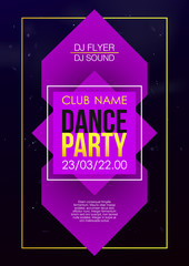 Vertical music party background with violet graphic elements and text.