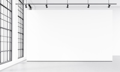 Modern gallery with blank white billboard. Front view. 3d rendering