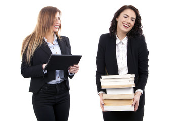 Beauty young business women with E-Book vs Books