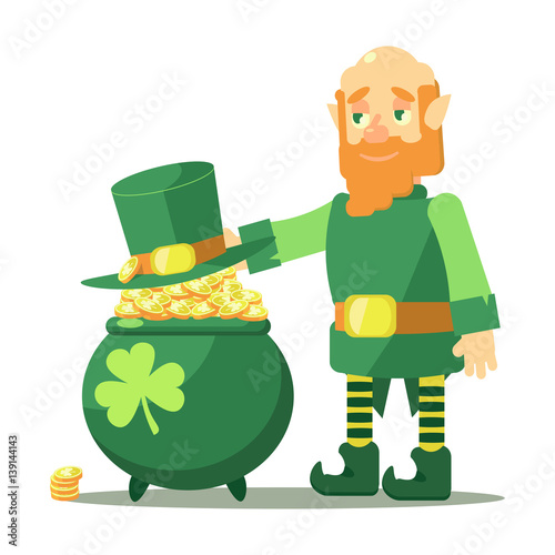 407ac4fa91918 Vector card St. Patrick s Day. Elf hat lies on the pot of gold. Pot is  completely filled with coins with clover sign. joyful red-bearded  leprechaun Irish ...