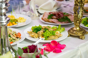 Table with food. Catering table set service.