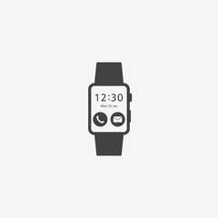 Smart watch monochrome icon. Vector illustration.