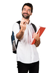 Student man doing coming gesture
